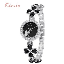 KIMIO Ladies Lucky Clover Love Crystal Strap Austrian Drilling Women Watches 2016 Luxury Brand Quartz Watches Woman Dress Clock цена 2017