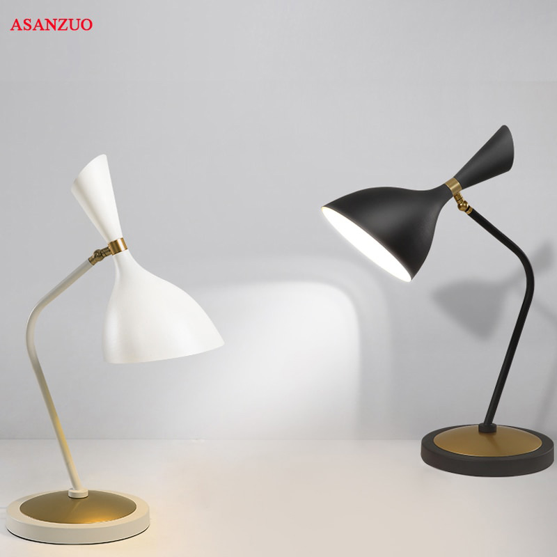 US $70.72 23% OFF|Nordic minimalist modern bedroom bedside lamp black and  white fashion table lamp living room bedroom study decorative table lamp-in  ...