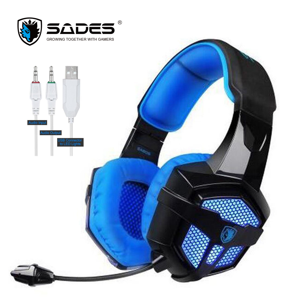 SADES SA806 3.5mm Plug Gaming Headset Over-ear Headphone with Long-length Mic USB LED Light  For Computer Laptop g1100 3 5mm pro gaming headset headphone for ps4 laptop crack pattern led led blue black red white