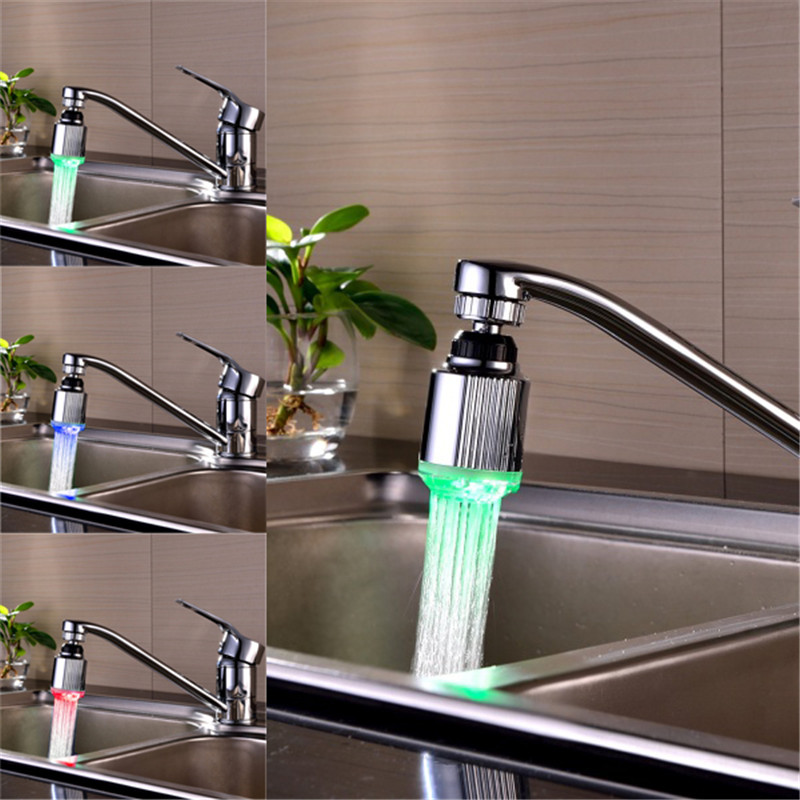 1Piece LED 360 degree Water Faucet Light 3 Colors Changing Glow Shower Stream Tap Aerator Brand New