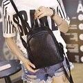 Mujeres Mochila Nueva Moda Casual PU Cuero de las señoras de Corea Del estilo de la escuela femenina mochila mochila Negro sólido Estudiante mochila