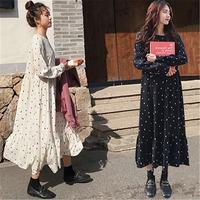 2019 Spring Autumn Maternity Loose Dot Chiffon Dresses Pregnant Woman Long Sleeve Vestidos Causal Pregnancy Nursing Dresses Q249