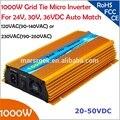 1000 W do laço Da Grade micro inversor, 20V-50VDC, 90 V-140 V ou 190V-260VAC, viável para 1200 W, 24 V, 30 V, 36 V sistema de painel solar ou eólica