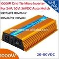 1000 W lazo de la Rejilla micro inversor, 20V-50VDC, 90 V-140 V o 190V-260VAC, viable para 1200 W, 24 V, 30 V, 36 V panel solar o eólica