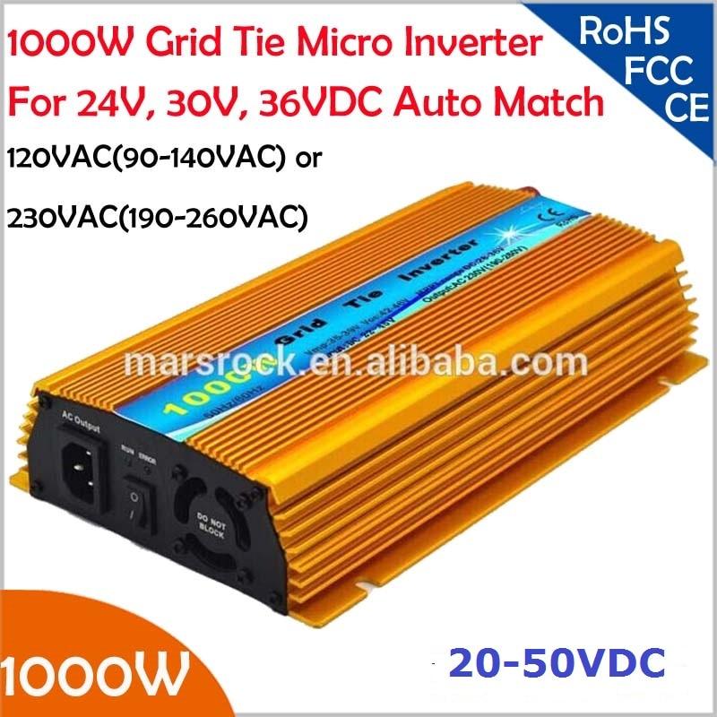 1000W Grid tie micro inverter, 20V-50VDC, 90V-140V or 190V-260VAC, workable for 1200W, 24V, 30V, 36V solar panel or wind system 600w 20 40vdc mppt grid tie inverter for 600 720w 24v 48cells or 30v 60cells pv solar panel 90 260vac wind power inverter 600w