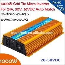 1000 Вт Сетки галстук микро инвертор, 20V-50VDC, 90 В-140 В или 190V-260VAC, выполнимое для 1200 Вт, 24 В, 30 В, 36 В панели солнечных батарей или ветряных системы