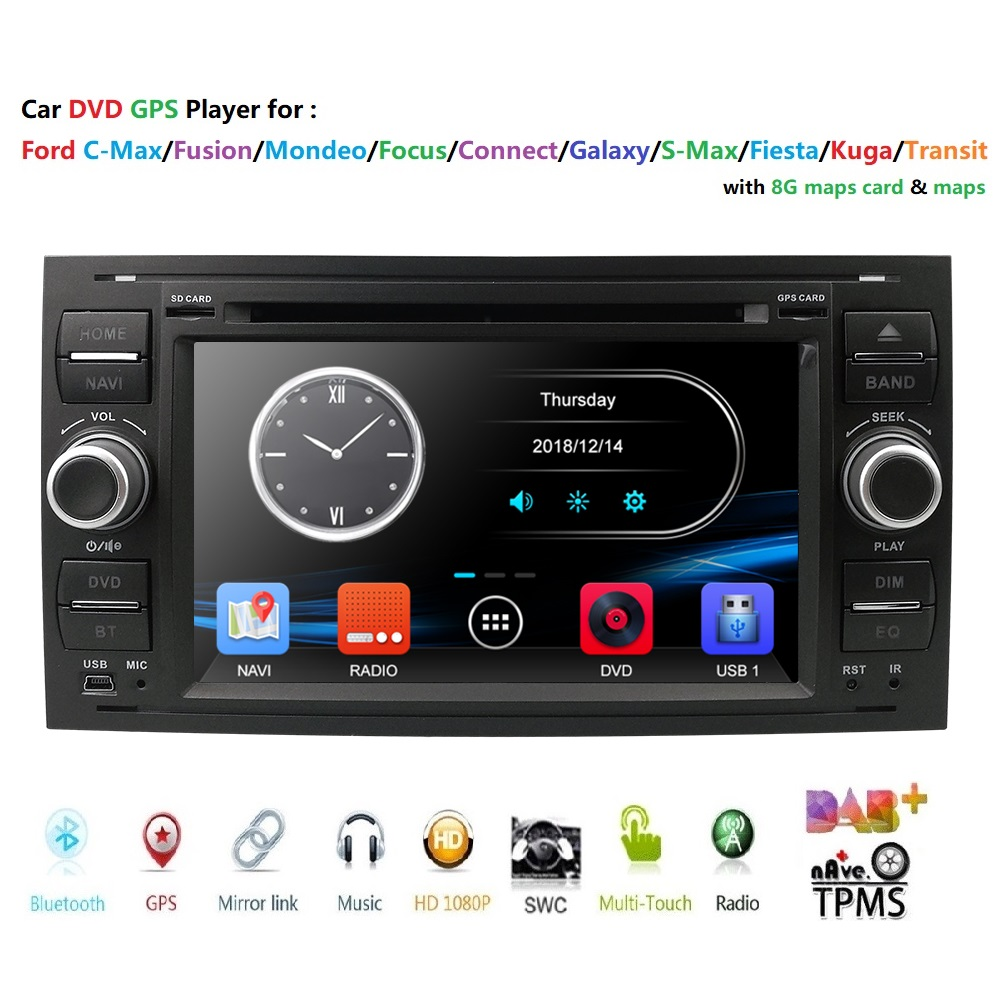 2din Car DVD GPS Navi Player Stereo Radio Audio For Ford Focus 2 Mondeo S C Max Fiesta Galaxy Connect 8G map usb rds swc bt dab+