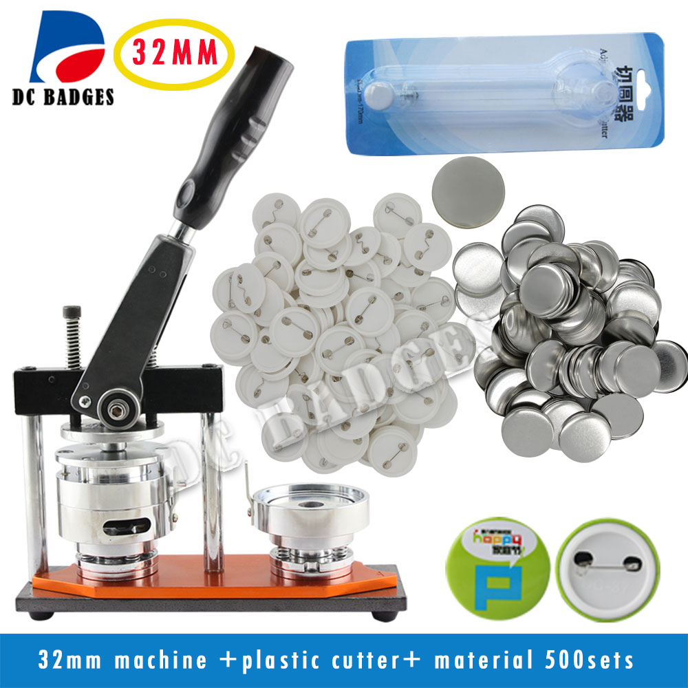 New Pro 1 .1/4 32mm Rotary Badge Button Maker Machine + Adjustable Circle Cutter+500 Sets Pinback Button Supplies