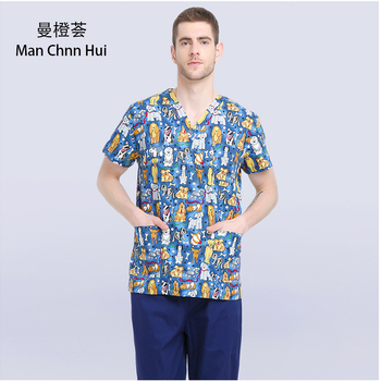 Veterinary Workwear Puppy Pattern Printing Scrub Uniform Pet Hospital Doctor Nurse