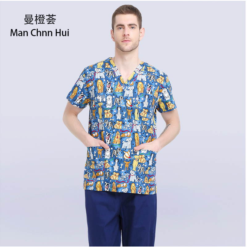 Veterinary Workwear Puppy Pattern Printing Surgical Gown Medical Professional Uniform Set Pet Hospital Doctor Nurse Uniform