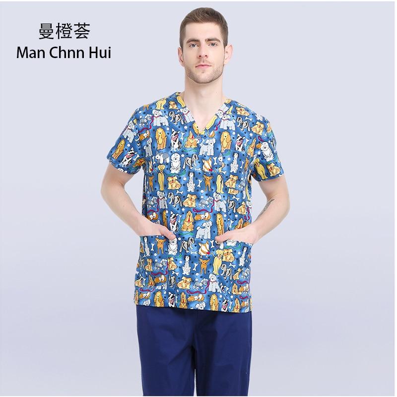 Veterinary Workwear Puppy Pattern Printing Surgical Gown Medical Professional Uniform Set Pet Hospital Doctor Nurse Uniform