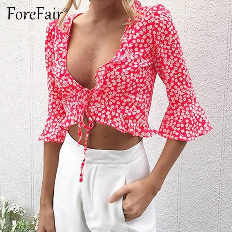 Forefair Elegant Print Chiffon   Blouse     Shirt   Women Half Sleeve Deep V Neck Drawstring Tie Bow Sexy Crop Tops 2018 Summer Blusas