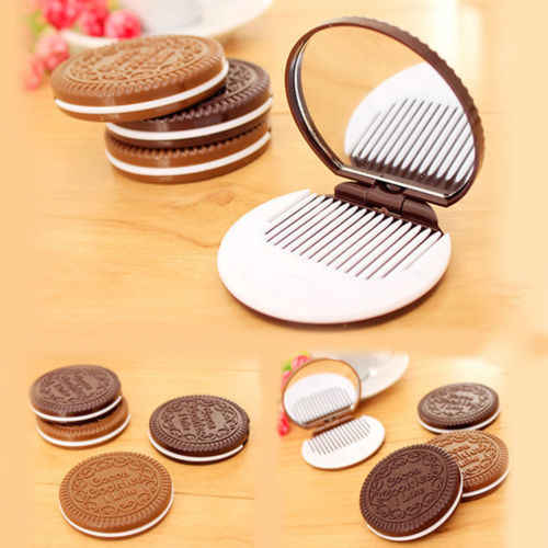 Mini Pocket Chocolate Cookie Biscuits Compact Mirror With Comb   Cute deep coffee color