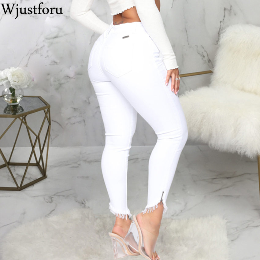 Wjustforu White Elegant Hole Jeans Pants Women Bodycon Casual Denim Pencil Pants Female Summer Fashion Tight Jeans Trousers