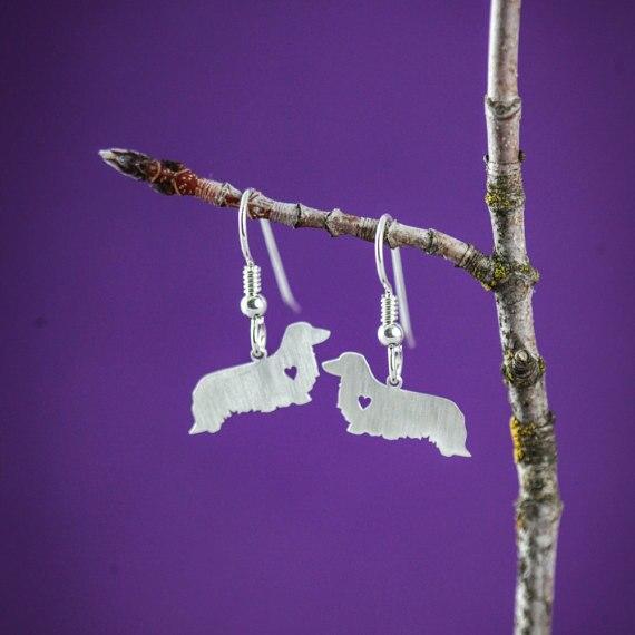 SALE Dachshund LH Dog Earrings Silver Dangle Charm Earrings For women Bijoux Jewelry Brincos Pendientes Mujer