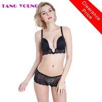 TANG YOUNG European Sexy Deep U Plunge Bra Set Invisible Women Underwear Set Push Up V