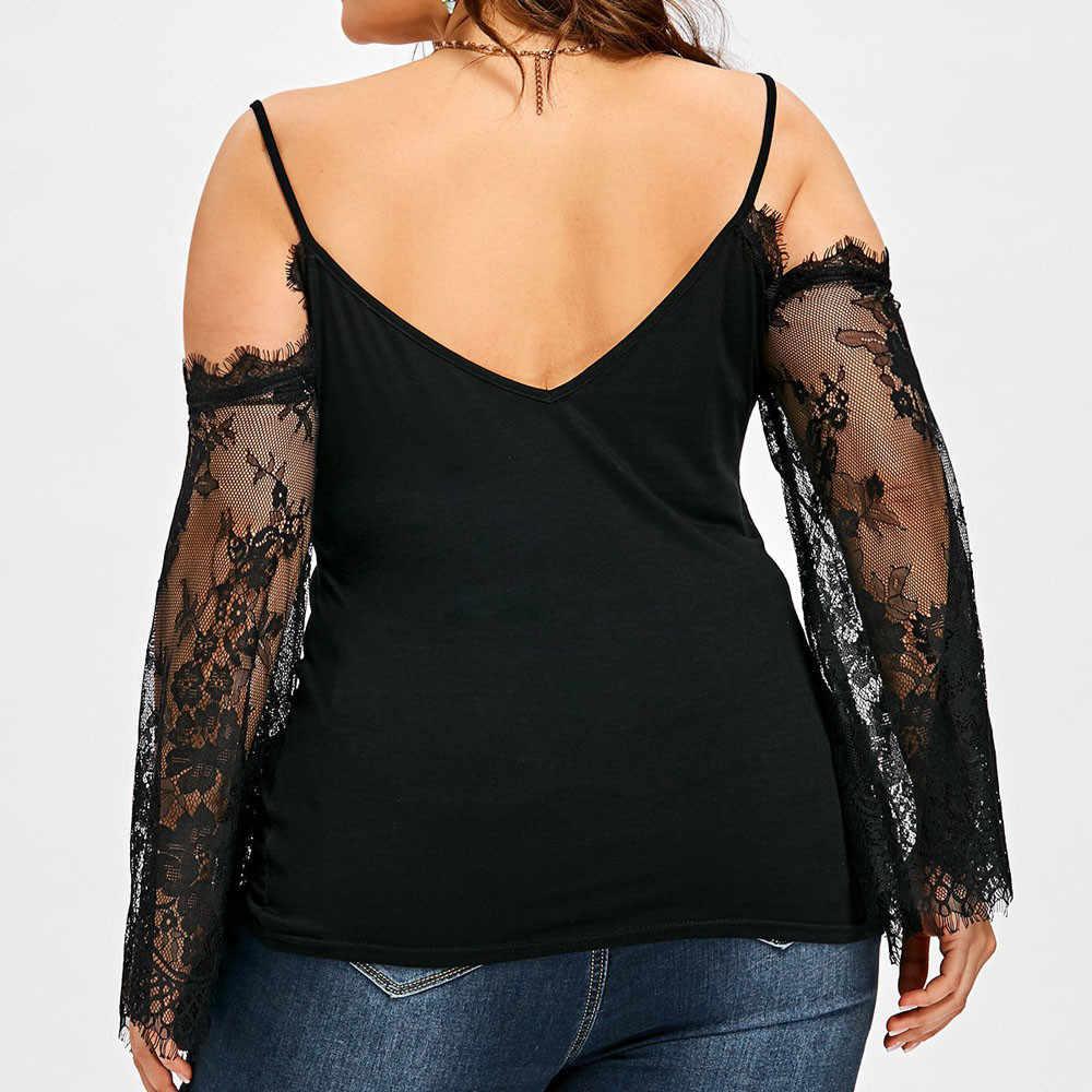 Женские блузки 5xl размера плюс, кружевной топ с открытыми плечами, женская рубашка большого размера, кружевные повседневные топы с длинным рукавом, блузка blusa feminina6.5L3