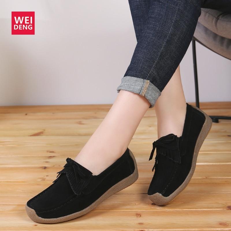 Genuíno para Mulheres Sapatos de Pele Promoção de Vendas Weideng Couro Palmilha Camurça Plana Mocassins Deslizamento no Exterior Ocasional Armazém Apuramento