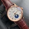 Лидирующий бренд Роскошные Мужские автоматические механические часы Moonphase светящиеся стрелки сапфировые наручные часы мужские 50 м водонеп...