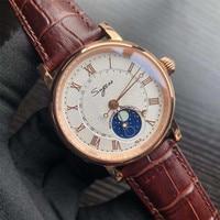 Top Brand Seagull Movement Men Automatic Mechanical Watch Moonphase Luminous Hands Wrist Watches Men's 50m Waterproof Calendar