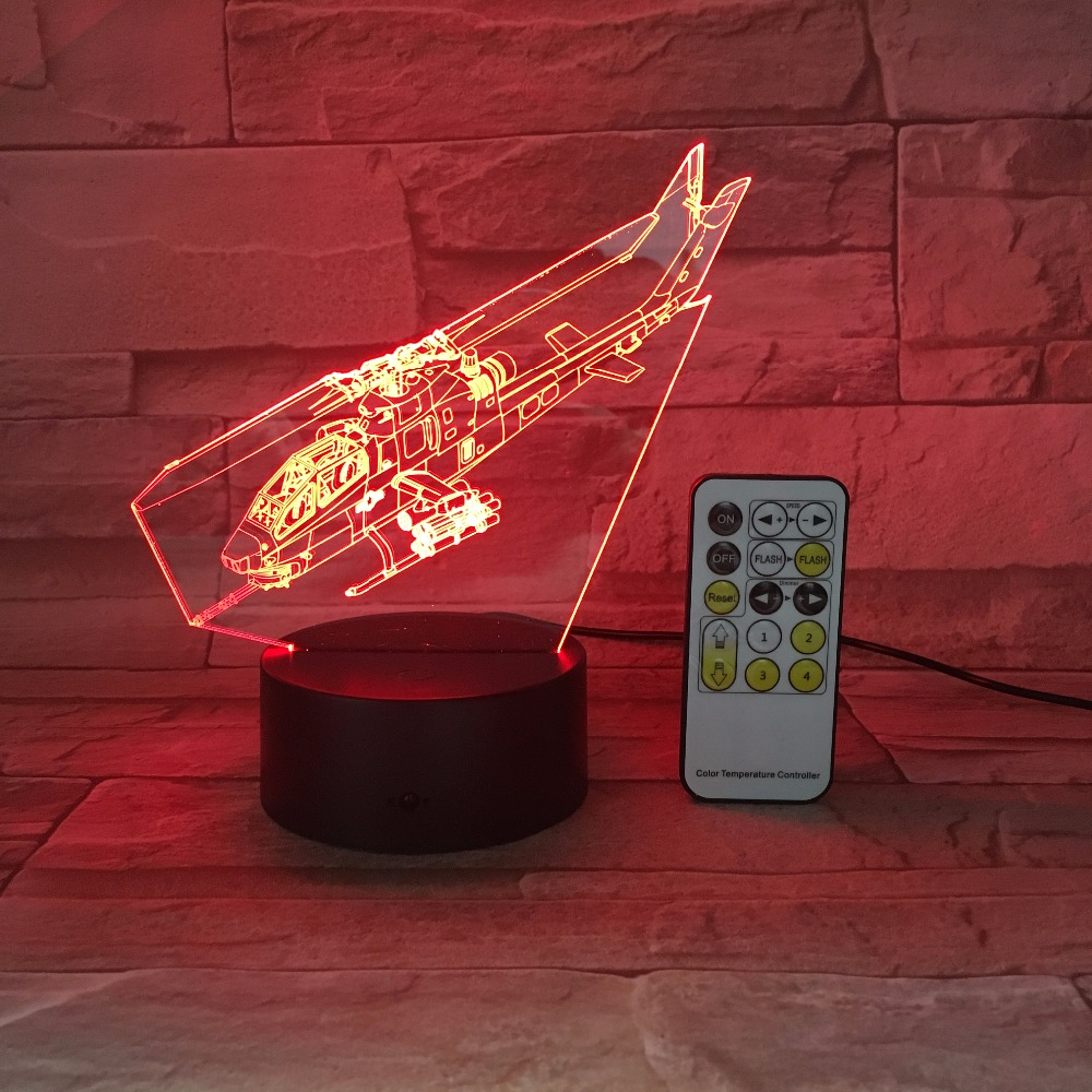 New Helicopter 3D LED Light Remote or Touch Control Illusion Table Lamps 7 Colors Change Desk Lamp Lamp Night light Kids's Gift