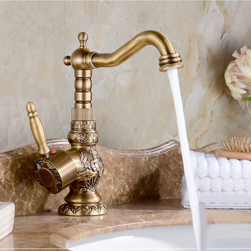 Free ship New arrival single hole Swivel Spout Antique Brass Bathroom Faucet Flowers Carved Vessel Sink Mixer TapFree ship New arrival single hole Swivel Spout Antique Brass Bathroom Faucet Flowers Carved Vessel Sink Mixer Tap