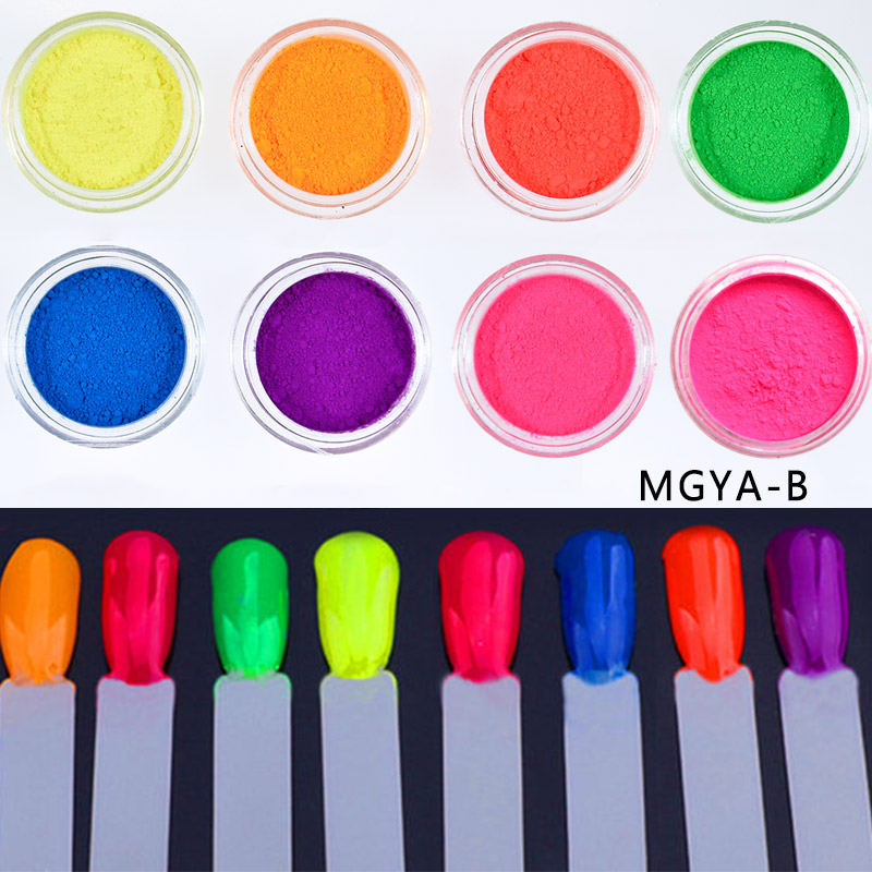 Bright 8 jars set Neon Pigment Fluorescence Effect Gradient Nail Neon Powder Gradient Pigments Dust DIY UV Gel Nail Decorations in Nail Glitter from Beauty Health