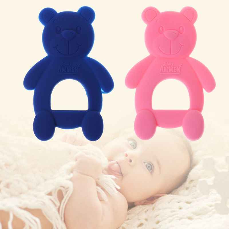 Baby Teether Bear Cute DIY Necklace Teething Pain Relief Pacifier Newborn Orthodontic Oral Care Infants Food Grade Silicone