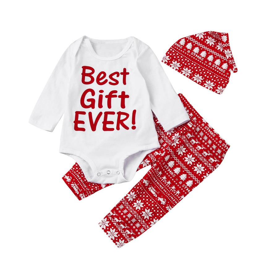 3Pcs Infant Baby Boy Girl Letter Romper+Snow Pants+Hat Christmas Outfits Set Clothes Sep 14