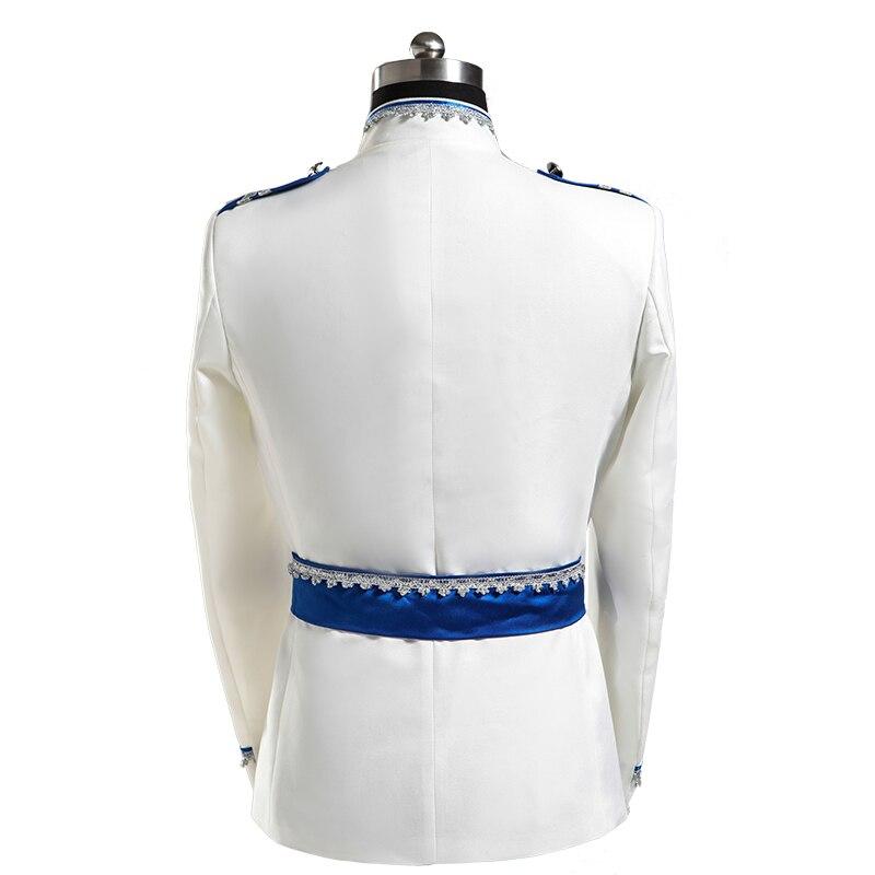 PYJTRL Europa ejército estilo soporte Collar blanco azul boda para hombres DJ escenario cantante hombres trajes con pantalones traje Homme slim Fit-in Trajes from Ropa de hombre    2