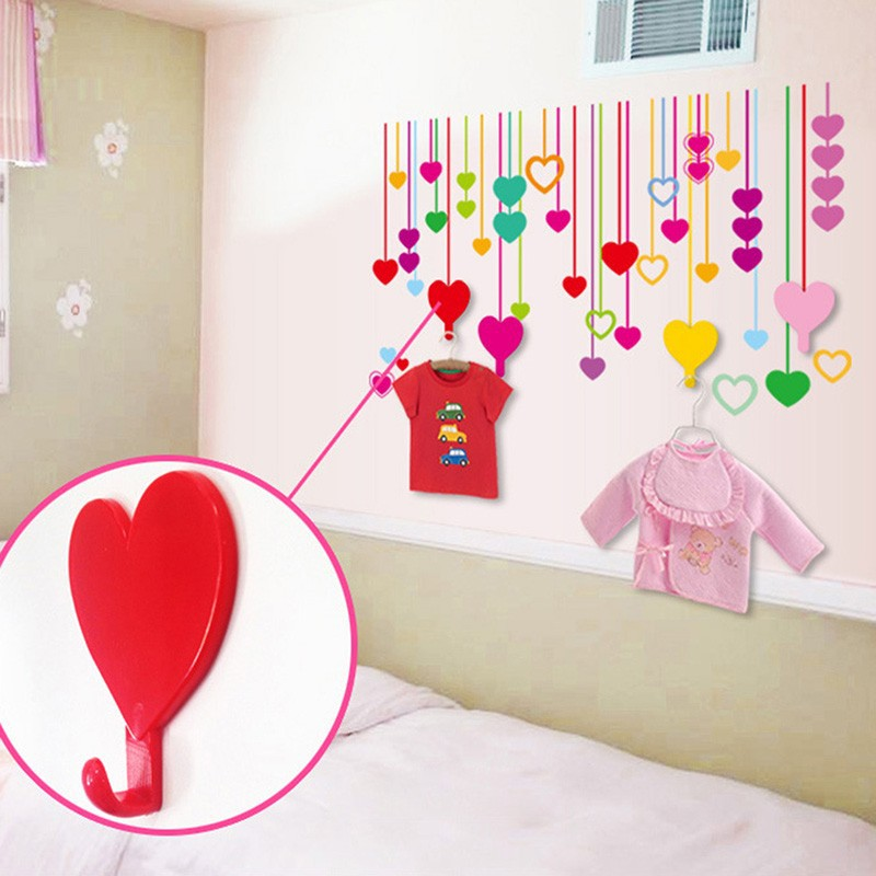 Colorful Love Heart Adhesive Hooks Robe Hooks Wall Hooks Hanger for Home Kitchen Holder DIY Kids Children Rooms Home Decoration (4)