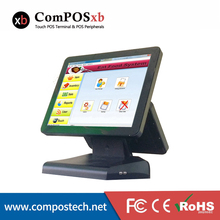 Black Color Double Screen Monitor 15 Inch All In One Restaurant Point Of Sale Ordering Pos System Windows System