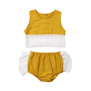 AU/Новейшая модная летняя одежда из 2 предметов для маленьких девочек футболка без рукавов с кисточками топы + шорты, комплект короткой одежд...