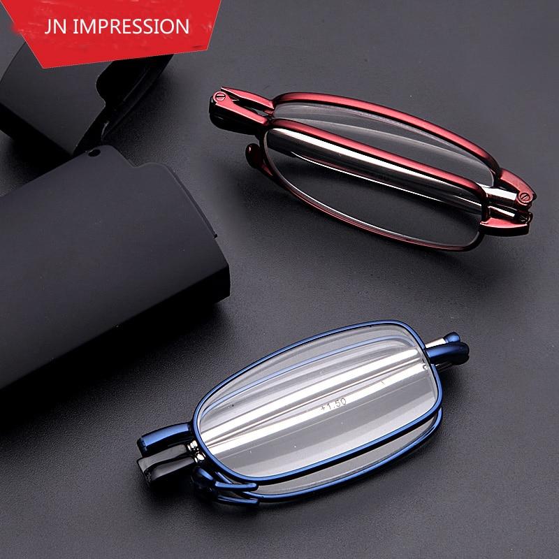 JN IMPRESSÃO Marca Designer Homens Mulheres Óculos Armações de óculos de Leitura  Dobrável Óculos Óculos oculos de grau óculos de dioptria 1 1.5 2 2.5 3 aa523c35a8
