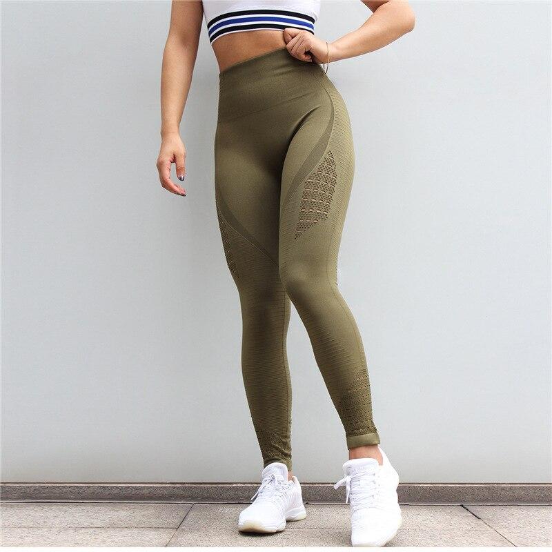 SALSPOR Women Yoga Pants Sports Running Sportswear Stretchy Fitness Leggings Gym Seamless Tummy Control Compression Tights Pants 3