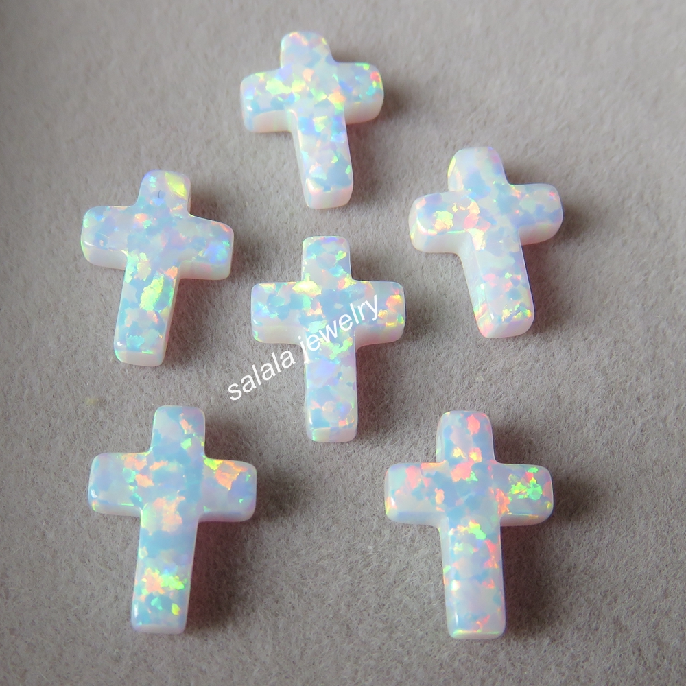 10pcs lot op17 Snow White Cross Opal 9x12mm Drilled Synthetic Fire Cross Opal for Opal Necklace