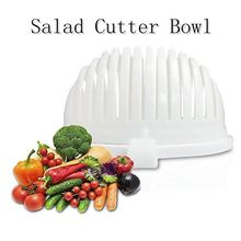 Salad Cutter Bowl Outdoor Tableware 60 Second Salad Maker Food Grade ABS Vegetable Cutter, Salad Chopper Salad Slicer (white)