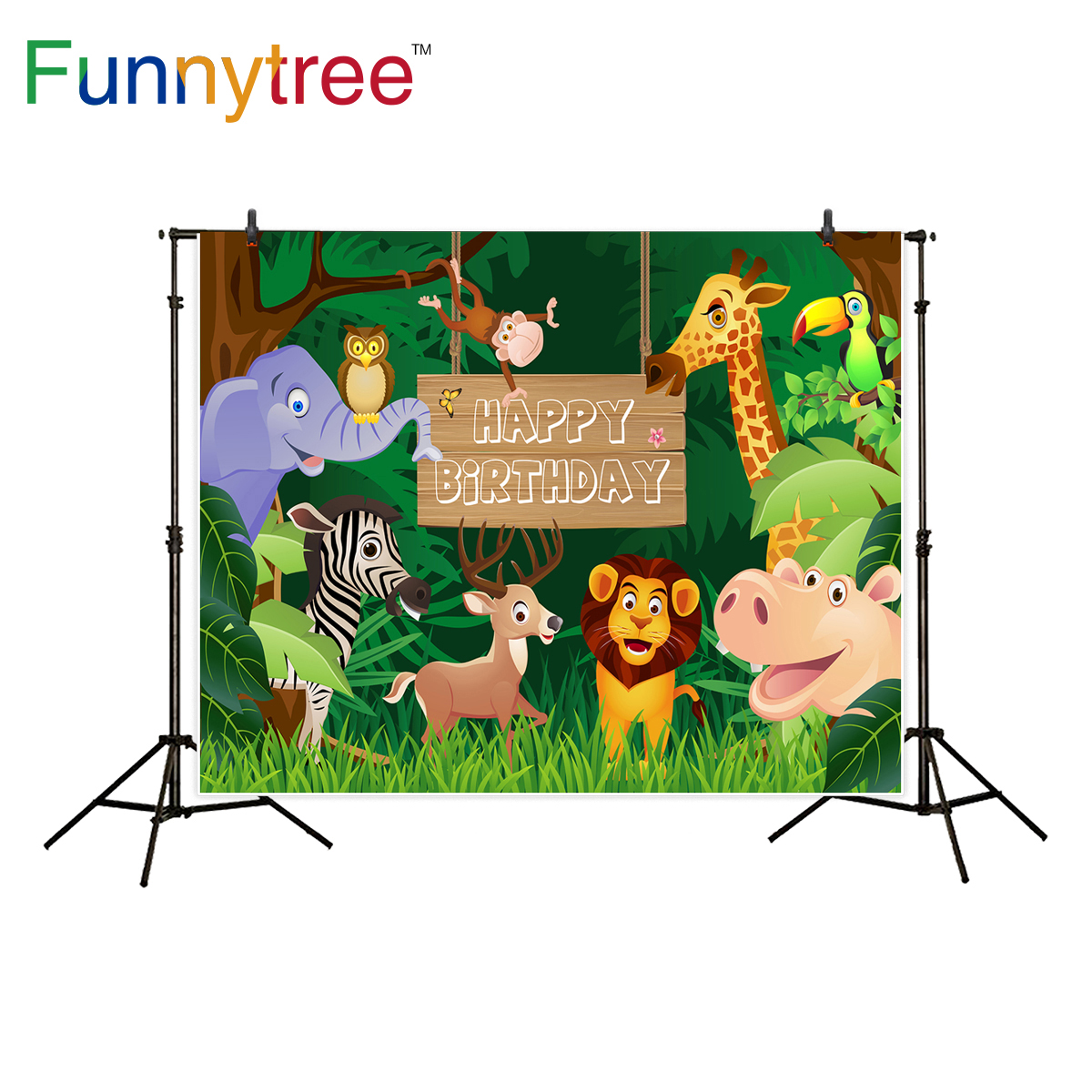 Funnytree photography background Tropical jungle animals birthday dessert table decor backdrop photocall photo studio printed allenjoy background photography pink birthday table flower cake wood backdrop photocall photobooth photo studio