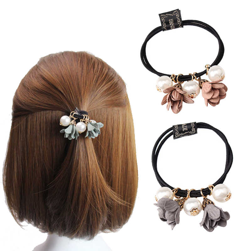 M MISM Big Pearl  Flower Rubber Hairband Women Hair Ornament scrunchy Headband Girls Gum for Hair Double Layer Elastic Hair Band