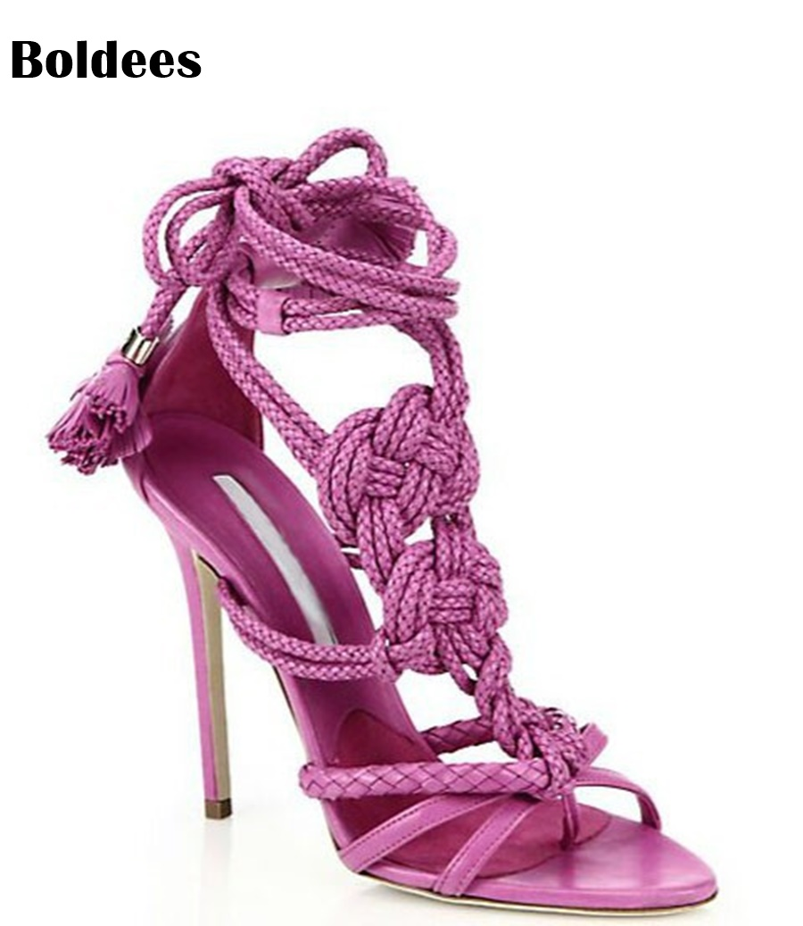 solid color multi hemp strap crisscross stiletto high heel sandals fashion ankle lace-up knot embellished sandal shoes