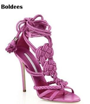 solid color multi hemp strap crisscross stiletto high heel sandals fashion ankle lace-up knot embellished sandal shoes