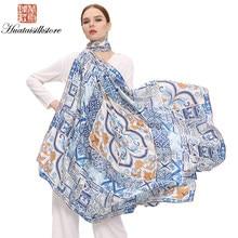 9b5bd30e01cc 2017 Nouvelle Mode 135 135 cm Femmes Foulards 100% Soie Carré Numérique  Impression Style Chinois Satin Tout-Allumette Pashmina H..