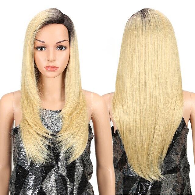 Magic Hair Synthetisch Haar Lace Front Pruik 24 Inch Lange Rechte Pruik Ombre Zwart Roze Cosplay Pruik Hittebestendige Synthetische haar
