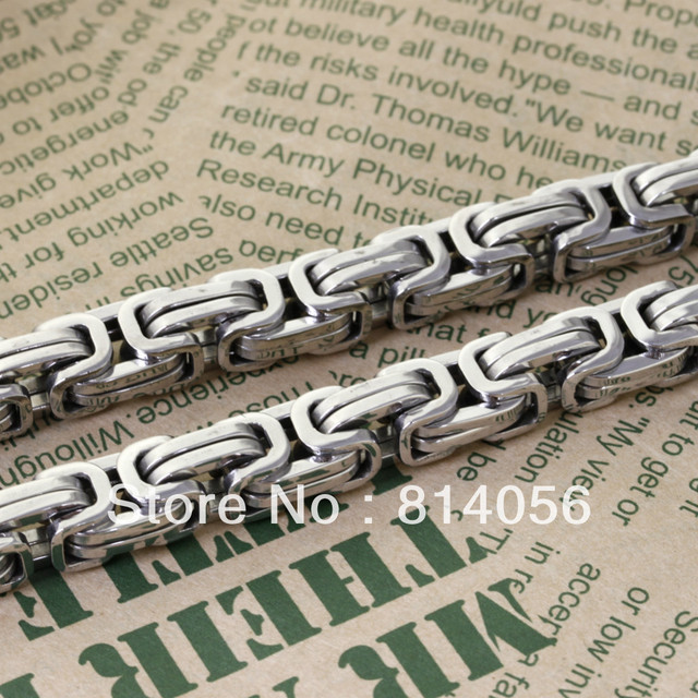 FREE SHIPPING 2012 New Stainless steel cool  men silvery  prevalent 55cmX8mm byzantine chain necklace