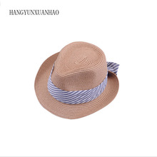 Women Summer Sun Hat Flat Striped Bow Khaki Straw Cap Jazz Panama Caps Beach Seaside Fedora Hats For Chapeau