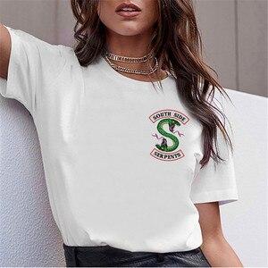 Женская футболка LUSLOS, футболка с круглым вырезом и принтом в виде змей