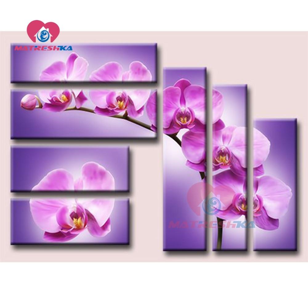 Pittura diamante orchidee diamante ricamo trittico dipinti da cristalli di diamante mosaico di immagini allestimenti needlework-in Punto croce Diamond Painting da Casa e giardino su  Gruppo 1
