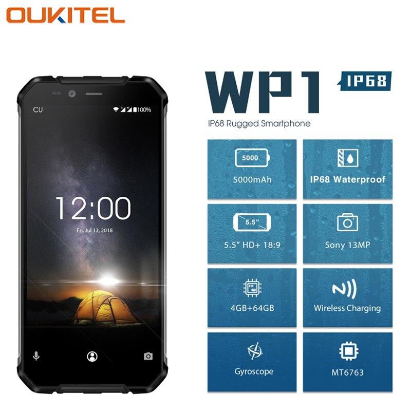 OUKITEL WP1 IP68 Étanche Téléphone portable 5.5 4g + 64g MTK6763 Octa base Android 8.1 5000 mah sans fil De Charge Tri-preuve Smartphone