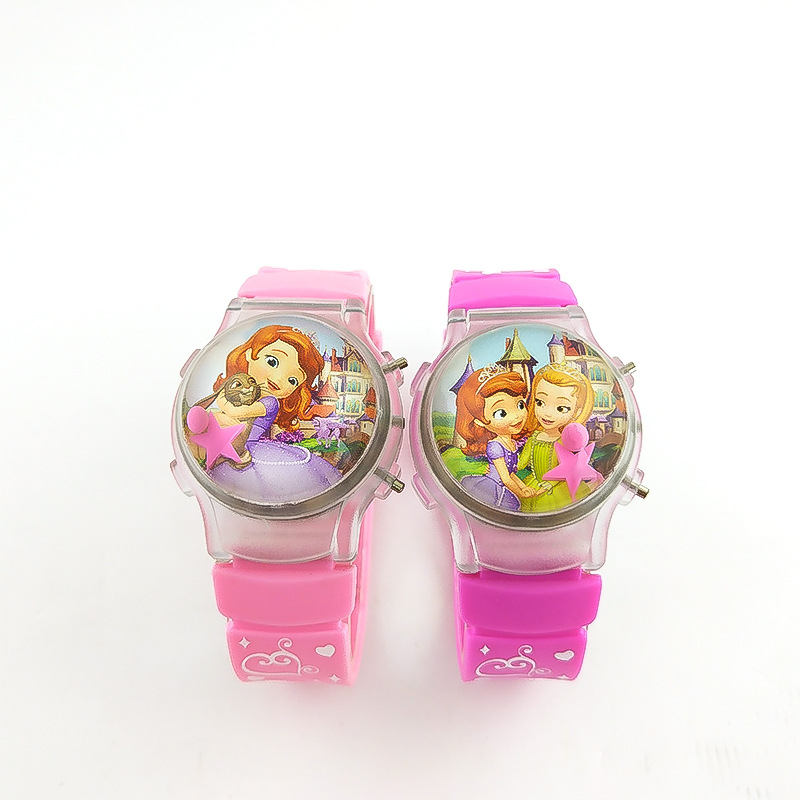 2019 New Cartoon Sophia Kids Watches Flash Light Girl Watch Jelly Fashion Lantern Children Watch Boy Clock Relogio Feminino