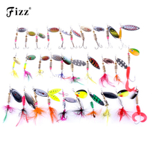 30pcs Mixed Style Spoon Fishing Lure Spinner Spoon Lures with Feather Barbed Treble Hook Spinnerbait for Sea River Lake Fishing цены